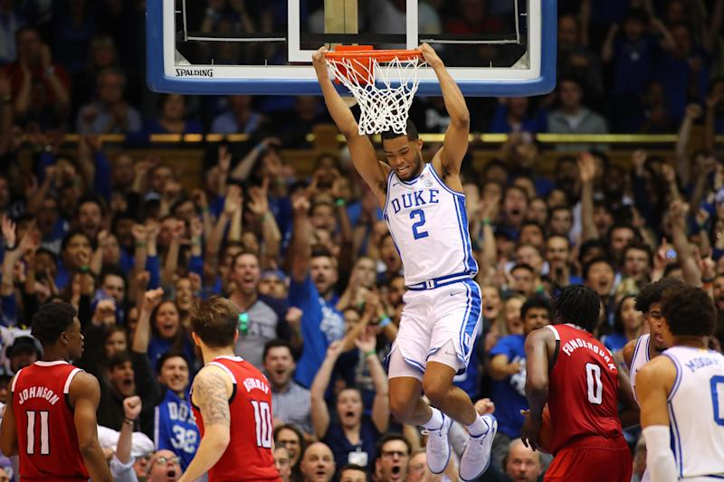 DURHAM, NC - MARCH 02: Duke Blue Devils guard Cassius Stanley (2) hangs on the net after dunking during the 2nd half of the Duke Blue Devils game versus the NC State Wolfpack on March 2nd, 2020 at Cameron Indoor Stadium in Durham, NC.(Photo by Jaylynn Nash/Icon Sportswire via Getty Images)