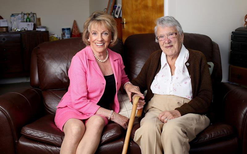 Esther Rantzen with Peggy Weaver, one of The Silver Line's regular callers - Clara Molden