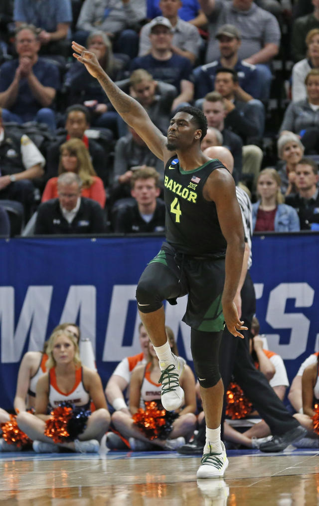 Baylor guard Mario Kegler (4) celebrates after scoring a 3-pointer against Syracuse during the first half of a first-round game in the NCAA mens college basketball tournament Thursday, March 21, 2019, in Salt Lake City. (AP Photo/Rick Bowmer)