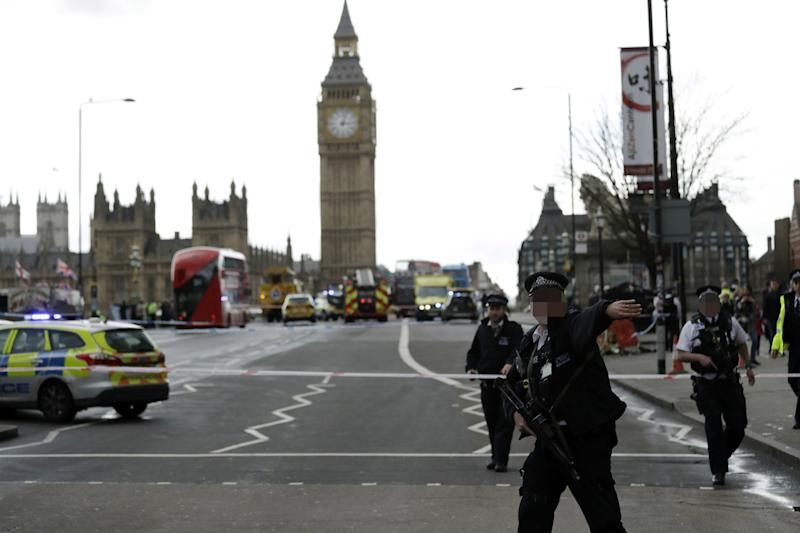 Horror attack: the aftermath of the incident on Westminster Bridge: Matt Dunham/AP