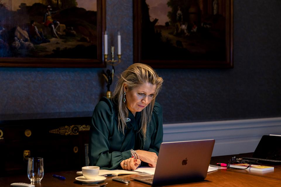 Dutch Queen Maxima sits at her desk during an online meeting with Italian Prime Minister on the G20 summit on November 30, 2020 at Huis ten Bosch Palace in The Hague. (Photo by Sander Koning / ANP / AFP) / Netherlands OUT (Photo by SANDER KONING/ANP/AFP via Getty Images)