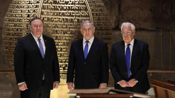 PHOTO: From left, Secretary of State Mike Pompeo, Israeli Prime Minister Benjamin Netanyahu and U.S. Ambassador to Israel David Friedman, visit the Western Wall Tunnels in Jerusalem's Old City on March 21, 2019. (Abir Sultan/AFP/Getty Images)