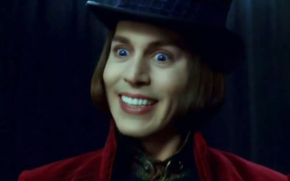 Depp as Wonka in Tim Burton's Charlie and the Chocolate Factory (Credit: Warner Bros)