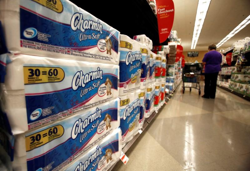 FILE PHOTO: Charmin toilet paper, a product distributed by Procter & Gamble, is pictured on sale at a Ralphs grocery store in Pasadena