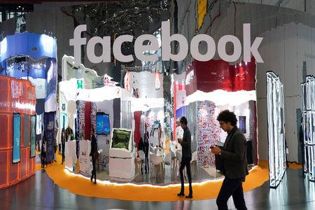 FILE PHOTO:  A Facebook sign is seen during the China International Import Expo (CIIE), at the National Exhibition and Convention Center in Shanghai