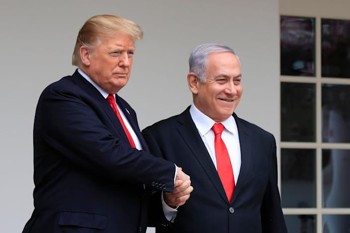 President Donald Trump and Israeli Prime Minister Benjamin Netanyahu at the White House on March 25, 2019.