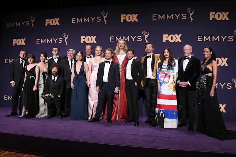 LOS ANGELES, CALIFORNIA - SEPTEMBER 22: Cast and crew of 'Game of Thrones' pose with awards for Outstanding Drama Series in the press room during the 71st Emmy Awards at Microsoft Theater on September 22, 2019 in Los Angeles, California. (Photo by Steve Granitz/WireImage)