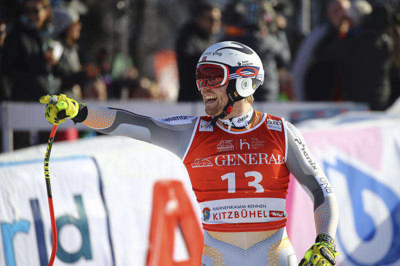 Norway's Aleksander Aamodt Kilde celebrates at the finish area during an alpine ski, men's World Cup super G, in Kitzbuehel, Austria, Friday, Jan. 24, 2020. (AP Photo/Marco Trovati)