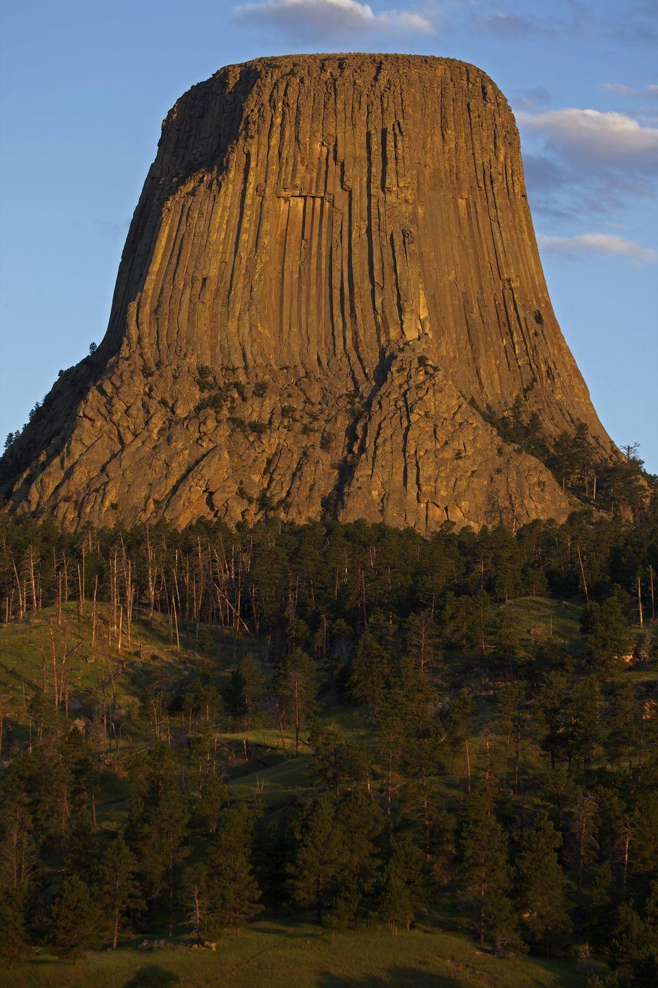 "<p>The ""Best Little Town"" in the state has a population of 400 who enjoy incredible views of <a href=""http://www.blackhillsbadlands.com/cities-towns/hulett-wyoming"" rel=""nofollow noopener"" target=""_blank"" data-ylk=""slk:Devils Tower"" class=""link rapid-noclick-resp"">Devils Tower</a> (America's first National Monument). However, that populations balloons to over 100,000, with bikers en route to annual Sturgis Motorcycle Rally in South Dakota. Whether you decide to explore the area on a motorcycle or horseback, you'll definitely want to make time on your schedule for a meal at the Ponderosa Cafe, a place that fits the Old West vibe of the town. </p>"