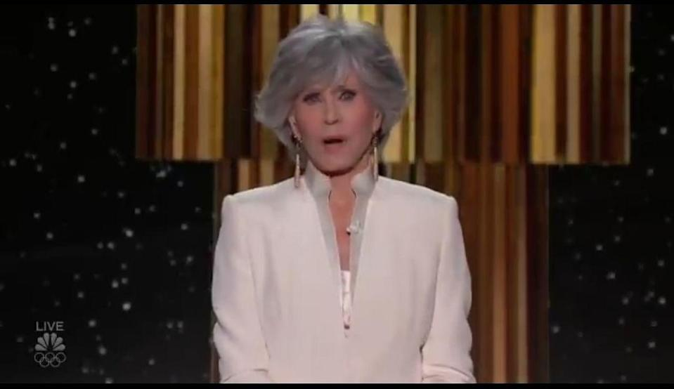 <p>Jane Fonda, recipient of the Cecil B. DeMille award, looks stunning in a white suit.</p>