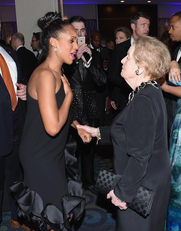 <p>Actress Kerry Washington and former Secretary of State Madeleine Albright attend the Yahoo News/ABC News White House Correspondents' Dinner pre-party at the Washington Hilton, April 30, 2016. <i>(Photo: Nicholas Hunt/Getty Images for Yahoo)</i></p>