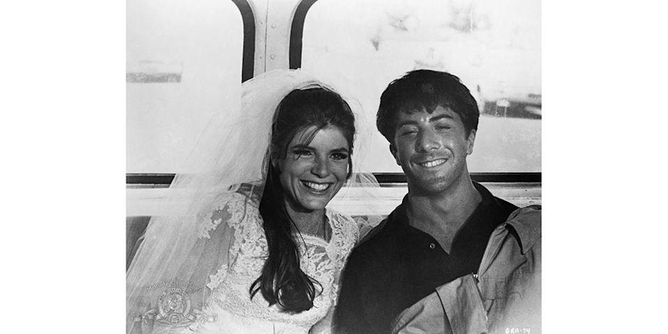 <p>The wedding may not have worked out as planned, but at least Elaine Robinson's (Katharine Ross) elegant peasant-inspired wedding gown looked as good in the back of a getaway vehicle as it did going down the aisle.</p>