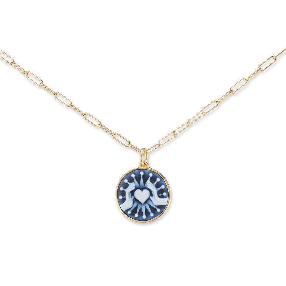 """<p><a class=""""link rapid-noclick-resp"""" href=""""https://www.auverture.com/friendship-love-necklace/"""" rel=""""nofollow noopener"""" target=""""_blank"""" data-ylk=""""slk:SHOP NOW"""">SHOP NOW</a></p><p>Inspired traditional love tokens, this delicate chain necklace bears a carved blue agate pendant with the secret message """"Lost in You, I Find Myself"""" carved into the back. </p><p>Gold and blue agate cameo necklace, £4,079, Ana Katarina at <a href=""""https://www.auverture.com/"""" rel=""""nofollow noopener"""" target=""""_blank"""" data-ylk=""""slk:Auverture"""" class=""""link rapid-noclick-resp"""">Auverture</a>.</p>"""