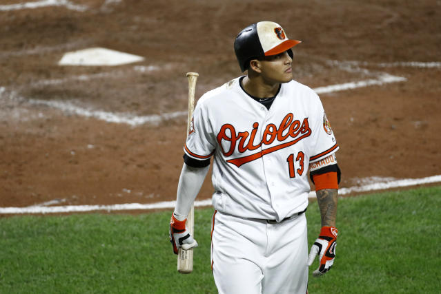"<a class=""link rapid-noclick-resp"" href=""/mlb/players/9111/"" data-ylk=""slk:Manny Machado"">Manny Machado</a> could soon be leaving Baltimore. (AP Photo/Patrick Semansky)"