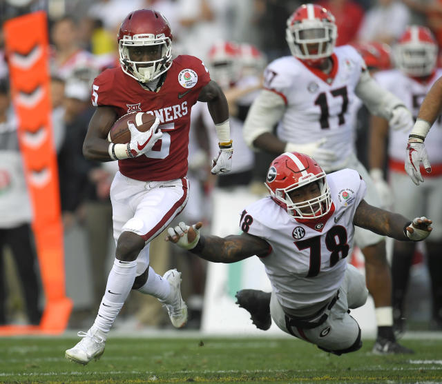 Oklahoma wide receiver Marquise Brown caught eight passes for 114 yards and a TD in the Sooners' semifinal double-overtime loss to Georgia last season. (AP)