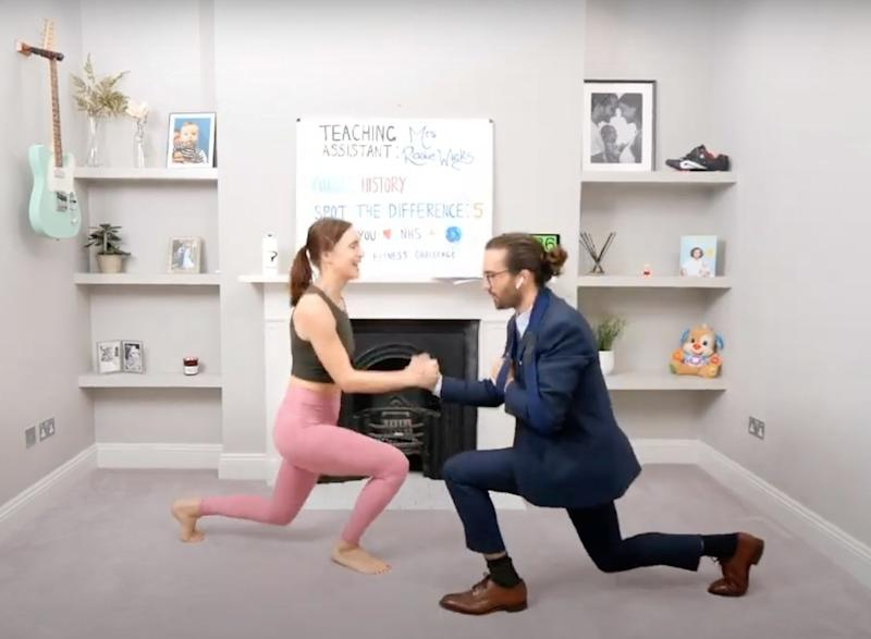 Joe Wicks is joined by his wife Rosie for his daily YouTube PE lsson (Joe Wicks)