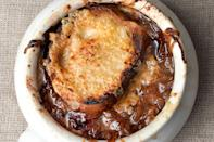 """Buy the <a href=""""https://www.epicurious.com/ingredients/best-beef-broth-stocks-you-can-buy-at-the-store-or-online-taste-test-article?mbid=synd_yahoo_rss"""" rel=""""nofollow noopener"""" target=""""_blank"""" data-ylk=""""slk:best beef broth"""" class=""""link rapid-noclick-resp"""">best beef broth</a> you can, or better yet, make your own for a rich, full-flavored soup. And if you don't have ovenproof bowls or ramekins, don't worry—you can just top each bowl with melty cheese toasts. <a href=""""https://www.epicurious.com/recipes/food/views/our-favorite-french-onion-soup-51248680?mbid=synd_yahoo_rss"""" rel=""""nofollow noopener"""" target=""""_blank"""" data-ylk=""""slk:See recipe."""" class=""""link rapid-noclick-resp"""">See recipe.</a>"""