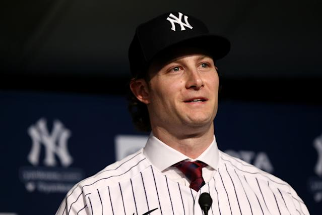 New New York Yankees starting pitcher Gerrit Cole was introduced to the media on Wednesday. (Mike Stobe/Getty Images)