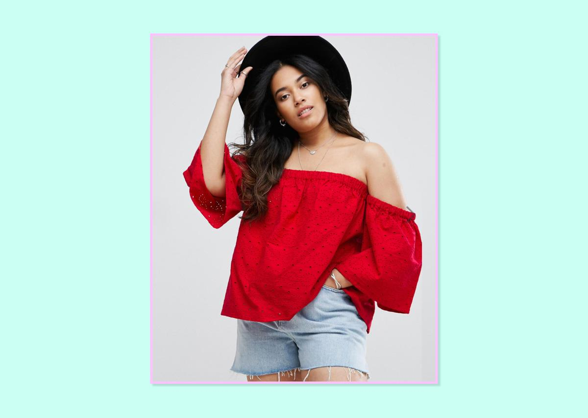 """<p>ASOS Curve Off-Shoulder Top With Fluted Sleeves in Broderie, $54, <a rel=""""nofollow"""" href=""""http://us.asos.com/asos-curve/asos-curve-off-shoulder-top-with-fluted-sleeves-in-broderie/prd/7905285?clr=red&SearchQuery=&cid=9577&pgesize=182&pge=1&totalstyles=386&gridsize=3&gridrow=6&gridcolumn=1"""">ASOS</a> (Photo: ASOS) </p>"""
