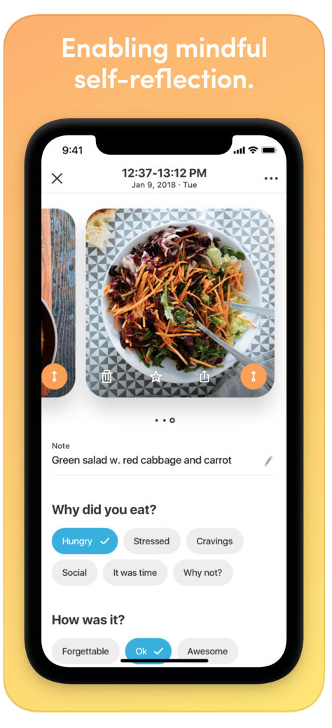 """<p>Think of this app as a mashup of traditional food diaries, like MyFitnessPal, and instagram. Instead of weighing and logging food from the database, users upload photos of meals. YouAte stresses mindful eating, so you can record emotions to determine if stress led you to eating those afternoon donuts.</p><p>(<em>free basic version for iOS and Android,<a href=""""https://itunes.apple.com/app/apple-store/id1164976477?pt=101931802&ct=website&mt=8"""" rel=""""nofollow noopener"""" target=""""_blank"""" data-ylk=""""slk:itunes.com"""" class=""""link rapid-noclick-resp""""> itunes.com</a> and <a href=""""https://play.google.com/store/apps/details?id=com.youate.android"""" rel=""""nofollow noopener"""" target=""""_blank"""" data-ylk=""""slk:play.google.com"""" class=""""link rapid-noclick-resp"""">play.google.com</a></em>)</p>"""