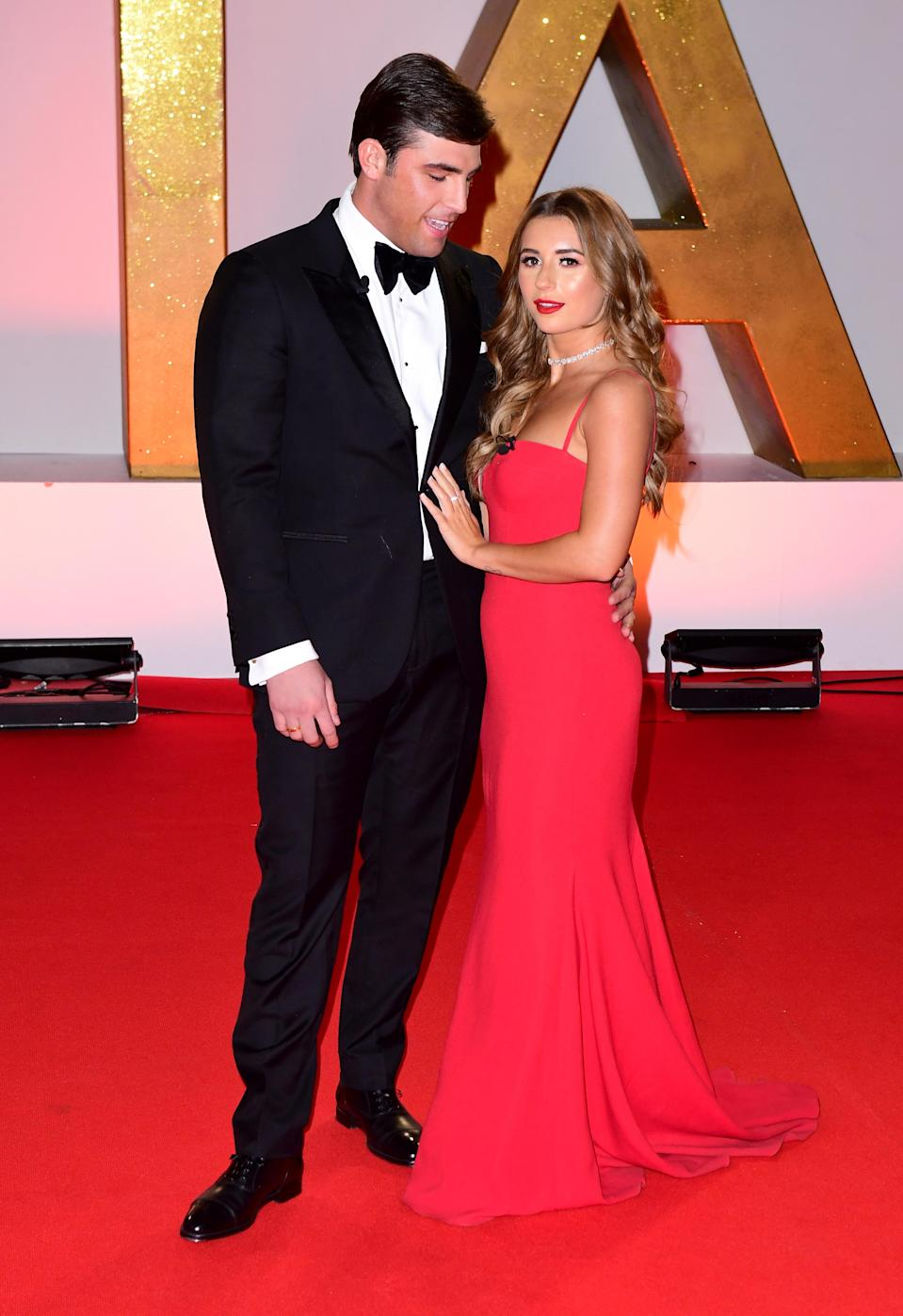 Jack Fincham (left) and Dani Dyer attending the National Television Awards 2019 held at the O2 Arena, London. (Credit: Ian West/PA Images via Getty Images)