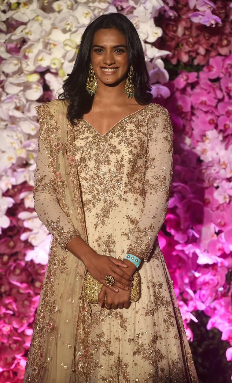 Badminton player P.V. Sindhu at the wedding reception of Akash Ambani and Shloka in Mumbai