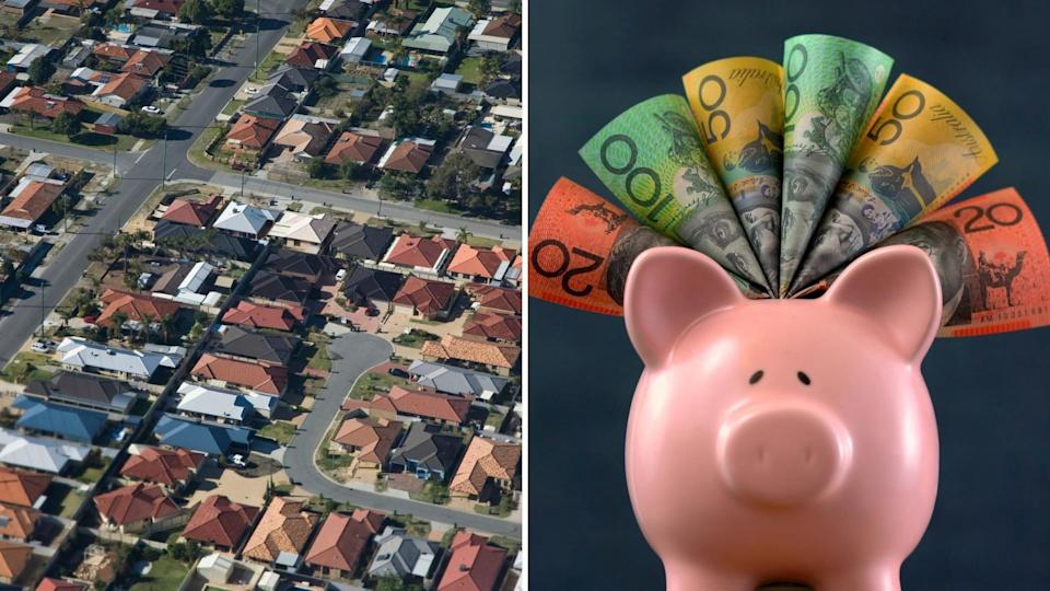 Pictured: Australian houses, piggy bank with Australian cash. Superannuation concept. Images: Getty