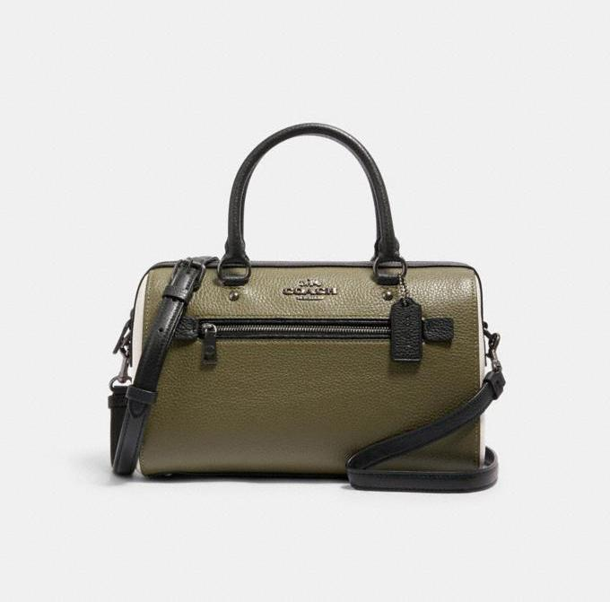 Rowan Satchel In Colorblock. Image via Coach Outlet.
