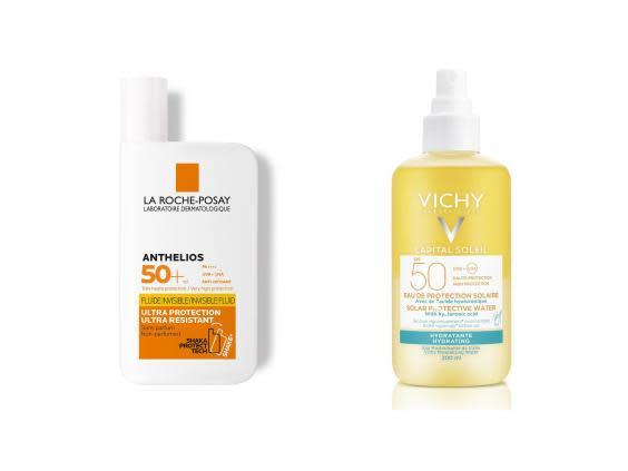 Apply and reapply sunscreen to stay protected during the hot weather on your staycation (left, Boots, right, Vichy)