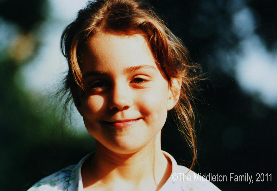Kate as a five-year-old, in a picture from her family's collection. Royal fans often draw comparisons between her as a child and her son Louis. (The Middleton Family)