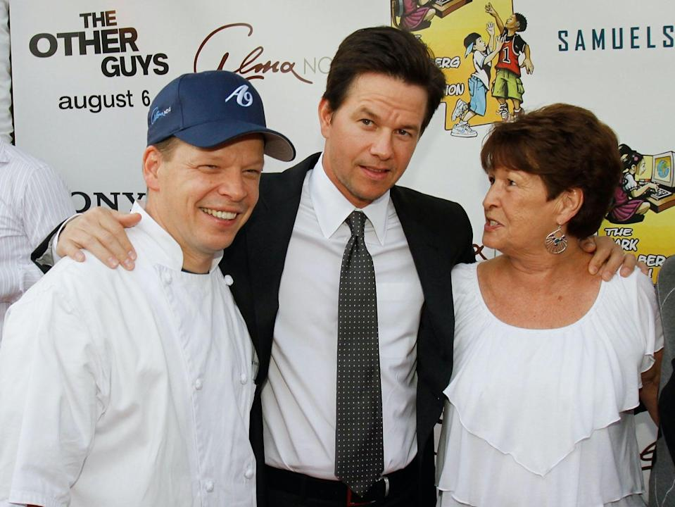 Brothers Paul and Mark Wahlberg with their mother Alma, at the premiere of Mark Wahlberg's film The Other Guys (Getty Images)