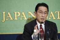 Fumio Kishida, former foreign minister, one of candidates for the presidential election of the ruling Liberal Democratic Party speaks during a debate session held by Japan National Press club Saturday, Sept. 18, 2021 in Tokyo. The contenders are also Taro Kono, the cabinet minister in charge of vaccinations, Sanae Takaichi, former internal affairs minister, and Seiko Noda, former internal affairs minister. (AP Photo/Eugene Hoshiko, Pool)