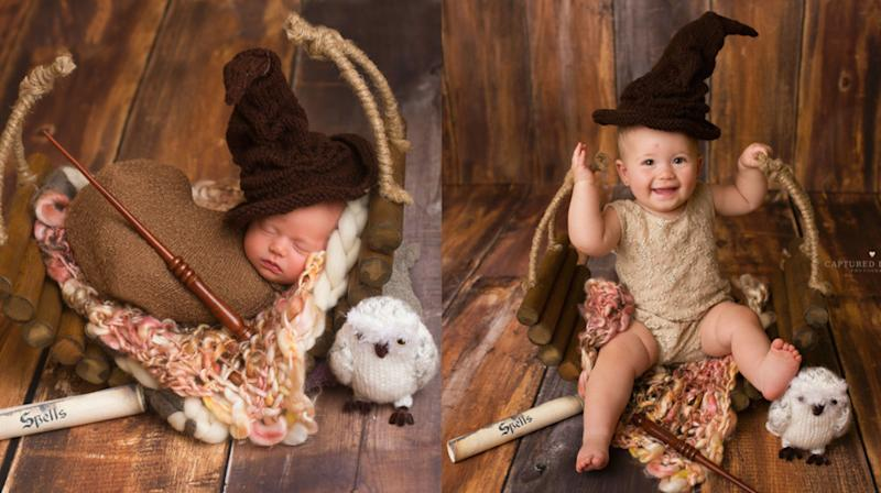 Baby Recreates Harry Potter-Themed Newborn Photos For 1st Birthday