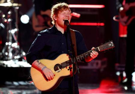 FILE PHOTO: Sheeran performs during the Golden Camera award ceremony in Hamburg