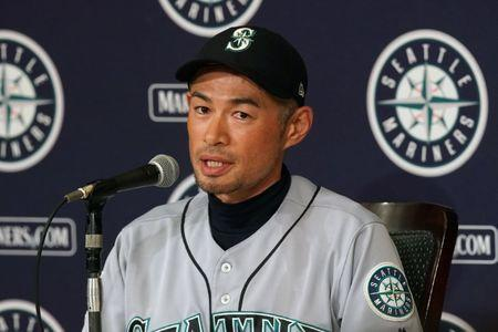 Mar 21, 2019; Tokyo,JPN; Seattle Mariners right fielder Ichiro Suzuki (51) speaks during a press conference after the game against the Oakland Athletics at Tokyo Dome. Mandatory Credit: Darren Yamashita-USA TODAY Sports