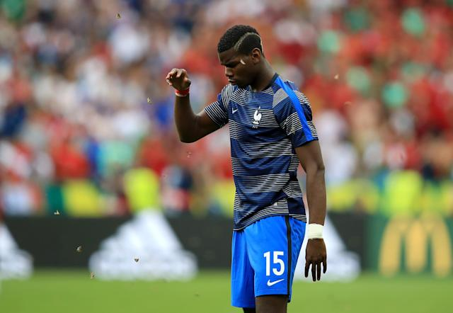 <p>France's Paul Pogba surrounded by moths during the warm-up before the UEFA Euro 2016 game. </p>