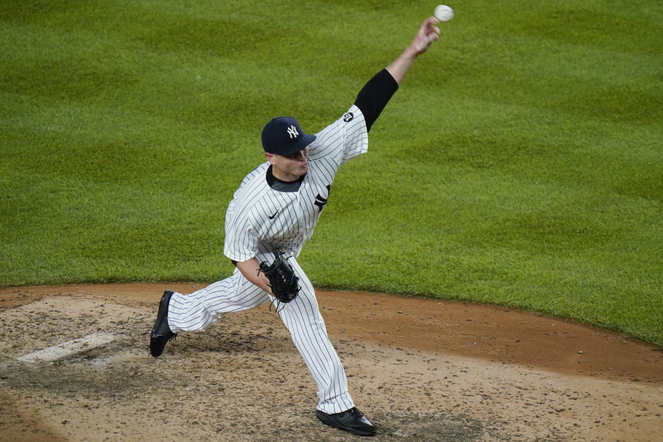 New York Yankees' Justin Wilson delivers a pitch during the eighth inning of a baseball game against the Boston Red Sox, Friday, July 16, 2021, in New York. The Red Sox won 4-0. (AP Photo/Frank Franklin II)