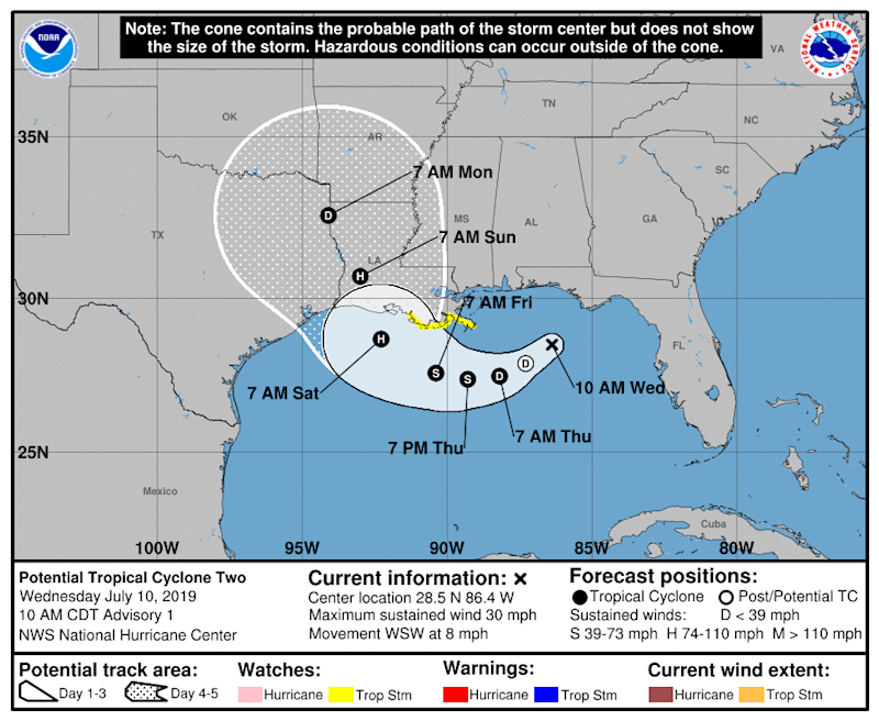 The National Hurricane Center's forecast for an unnamed potential tropical cyclone as of 10 a.m. CDT on Wednesday, July 10. | National Hurricane Center