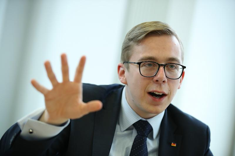 "BERLIN, GERMANY - APRIL 16: Philipp Amthor, a politician of the German Christian Democrats (CDU) in the Bundestag, speaks to the Foreign Journalists' Association on April 16, 2018 in Berlin, Germany. Amthor, at 25 the second-youngest Bundestag member, has been dubbed the CDU's ""secret weapon"" at countering the right-wing Alternative for Germany (AfD) through his conservative values one the one hand and his willingness to engage the AfD rhetorically in what he describes as the flimsiness of the party's political content. (Photo by Sean Gallup/Getty Images)"