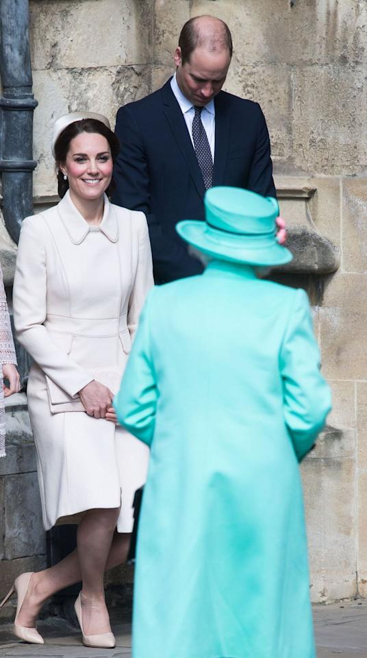 <p>When greeting the Queen, men are expected to bow their heads, while women curtsy. However, curtsies are a demure and subtle dip down with one leg behind the other, rather than the grand gestures depicted in old films or tales of Disney royalty. </p>