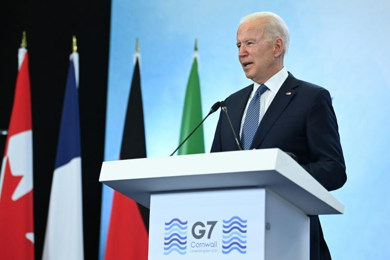 US President Joe Biden takes part in a press conference on the final day of the G7 summit at Cornwall Airport Newquay, near Newquay, Cornwall on June 13, 2021