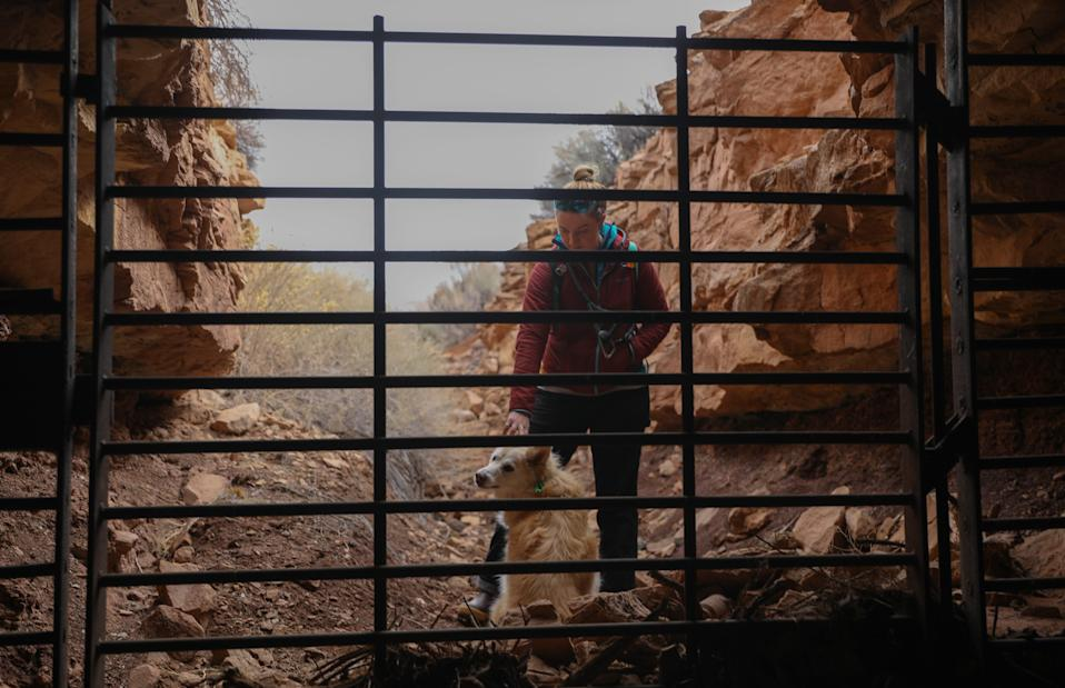 Kya Marienfeld, a wildlands attorney with the Southern Utah Wilderness Alliance, visits the entrance of an abandoned mine on the Bears Ears landscape.