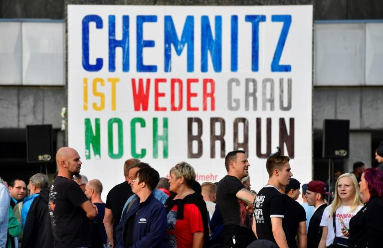 They held banners saying 'Chemnitz is neither grey nor brown', referring to the colour of uniforms worn by some Nazi paramilitary units