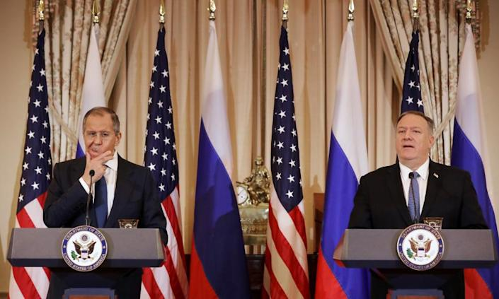 "<span class=""element-image__caption"">Sergei Lavrov and Mike Pompeo hold a joint news conference at the state department. Lavrov also met with Trump.</span> <span class=""element-image__credit"">Photograph: Chip Somodevilla/Getty Images</span>"