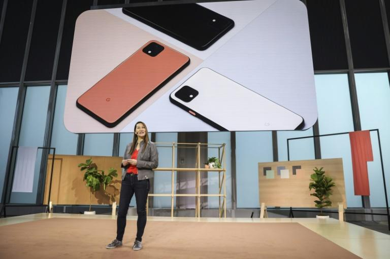 Sabrina Ellis, Google vice president of product management, introduces the new Google Pixel 4 smartphone during a Google launch event on October 15 (AFP Photo/Drew Angerer)