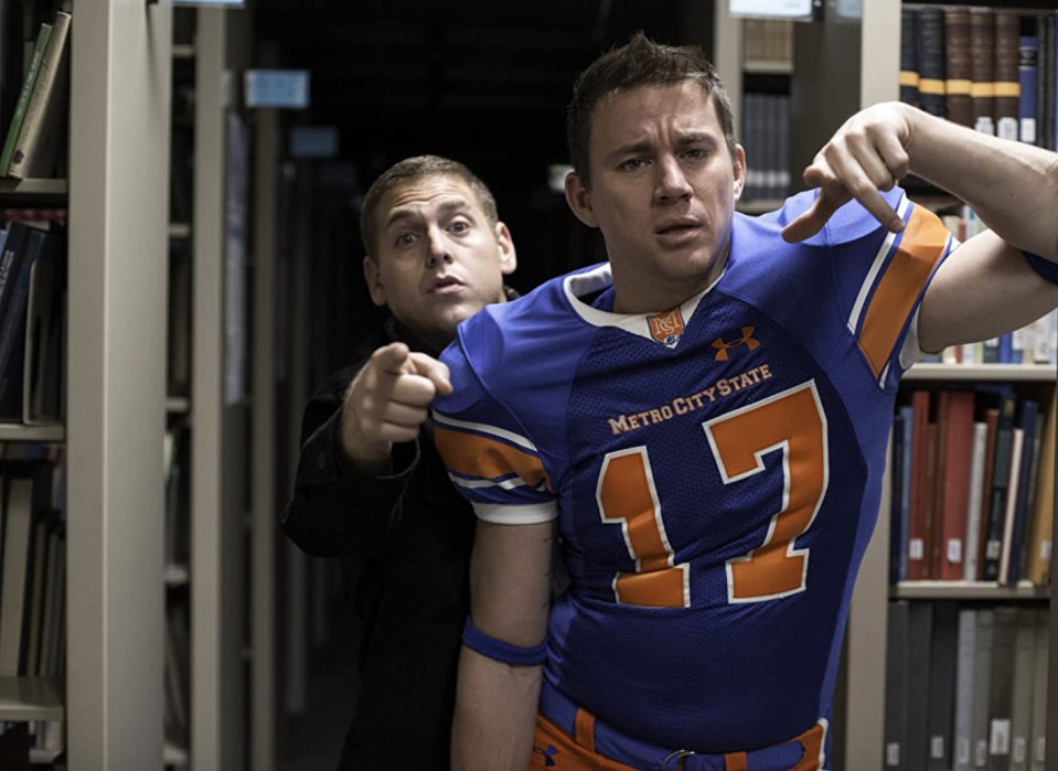 """<p>If you ever wondered why <em>22 Jump Street </em>star Channing Tatum looked so natural in a football uniform, it may have to do with his past. The actor <a href=""""http://www.espn.com/espn/page2/index/_/id/7697159"""" rel=""""nofollow noopener"""" target=""""_blank"""" data-ylk=""""slk:played football for two years"""" class=""""link rapid-noclick-resp"""">played football for two years</a> at Glenville State College in West Virginia before he dropped out. </p>"""