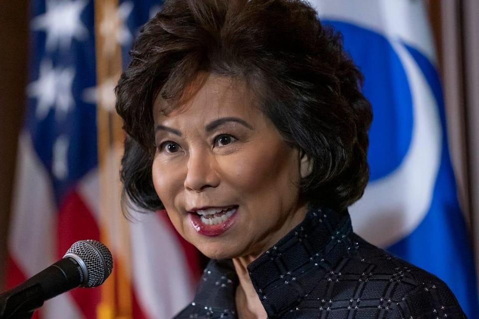 Former Transportation Secretary Elaine Chao speaks to reporters about then-President Donald Trump's decision to revoke California's authority to set auto mileage standards stricter than those issued by federal regulators, at EPA headquarters in Washington, Wednesday, Sept. 18, 2019.