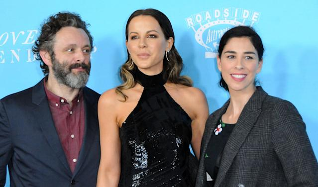 Michael Sheen and Kate Beckinsale (pictured in 2016 with Sarah Silverman, Sheen's then girlfriend) may be the world's friendliest exes. (Photo: Barry King/Getty Images)