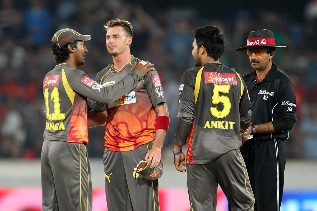 Dale Steyn celebrates wicket of Mayank Agrawal during match 7 of the Pepsi Indian Premier League between The Sunrisers Hyderabad and Royal Challengers Bangalore held at the Rajiv Gandhi International Stadium, Hyderabad on the 7th April 2013Photo by Prashant Bhoot-IPL-SPORTZPICS Use of this image is subject to the terms and conditions as outlined by the BCCI. These terms can be found by following this link:https://ec.yimg.com/ec?url=http%3a%2f%2fwww.sportzpics.co.za%2fimage%2fI0000SoRagM2cIEc&t=1503392475&sig=VUAQv7Pou0umpzFA18c1tA--~D