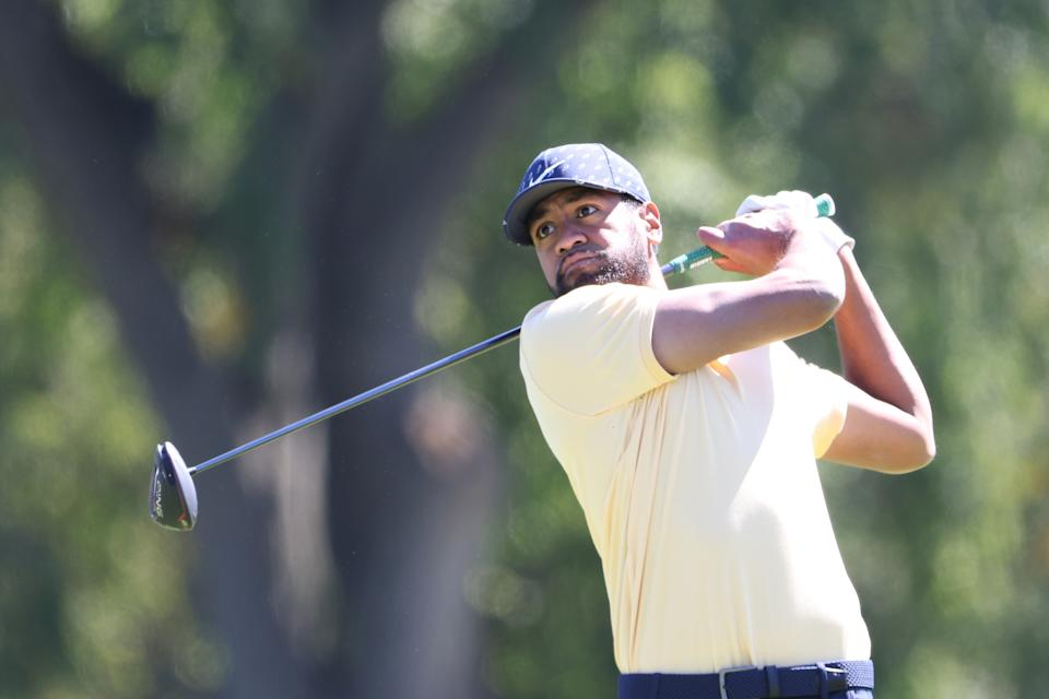 Tony Finau tested positive for the coronavirus and withdrew from the Shriners Hospitals for Children Open on Tuesday. (Jamie Squire/Getty Images)